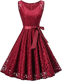 Fit and Flare Dress Party, Womens Sleeveless V Neck Lace Swing Dress (Burgundy S)