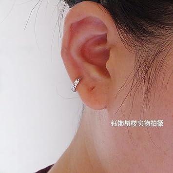 Amazon.com : Ear bones of small hoop earrings S925 silver flash grid ...