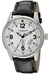 Stuhrling Original Men's 378L.01 Aviator Tuskegee Sabre Automatic Day and Date Black Leather Strap Watch