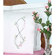 Jack Dempsey 537842 Stamped Pillowcases W/White Perle Edge 2/ Package, Infinity