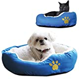 Image of Evelots Small Round Pet Bed, One Size, Blue