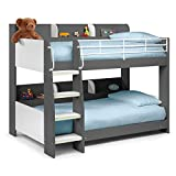 Happy Beds Domino Grey Wooden and Metal Kids Bunk Bed with Storage Shelves Frame Only 3' Single 90 x 190 cm