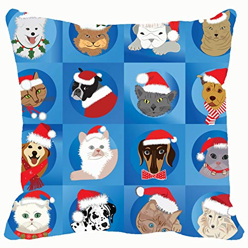 Santa Pets Animals Wildlife Christmas Holidays Home Decorative Throw Pillow Case Cushion Cover for Gift Home Couch Bed Car 18