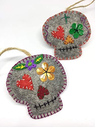 Mexican Style Art Colorful Festive Felt Ornaments Xmas Tree Decoration Set of 2 Dia de Los Muertos