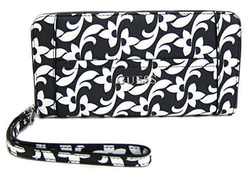 (GUESS Delaney Women's SLG Zip Around Clutch Wallet, Black Floral)
