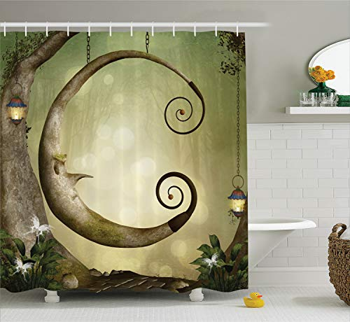 Ambesonne Cartoon Decor Collection, Forest Secret Swing Old Tree Curly Half Moon Shaped Lamps and Butterflies Lights Image, Polyester Fabric Bathroom Shower Curtain Set with Hooks, Khaki Olive ()