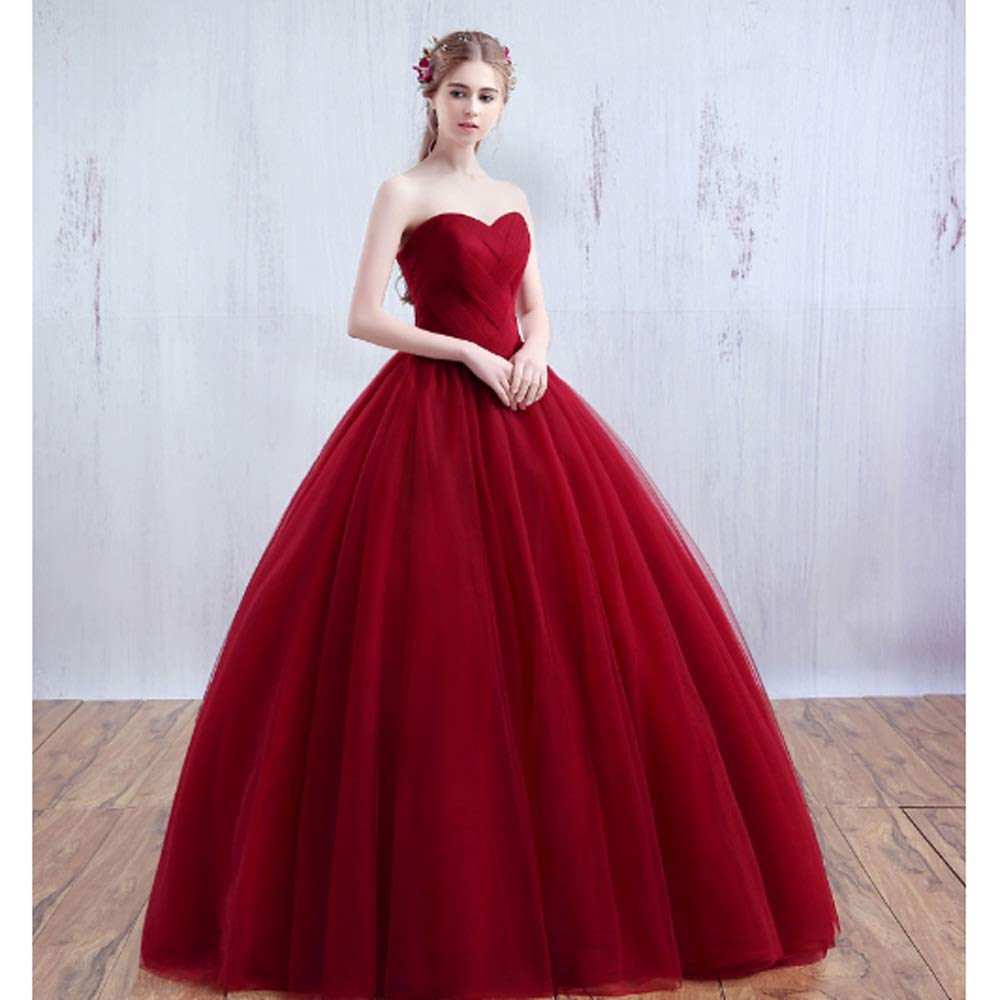 65b7bc33077 Amazon.com  SYJPK Red Wedding Dress New Bride Wedding Tube top Thin and  Simple (Color   A