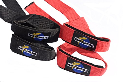 Cheap Premium Quality 23 inches long Cotton Wrist Straps ( 2 pairs ) with padding – Lifting straps for Weightlifting, Bodybuilding, Xfit, Strength Training, Powerlifting, Crossfit