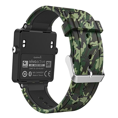 Garmin Vivoactive Watch Band, MoKo Soft Silicone Replacement Fitness Bands Wristbands with Metal Clasps for Garmin Vivoactive / Vivoactive Acetate Sports GPS Smart Watch - Ground Force Camouflage