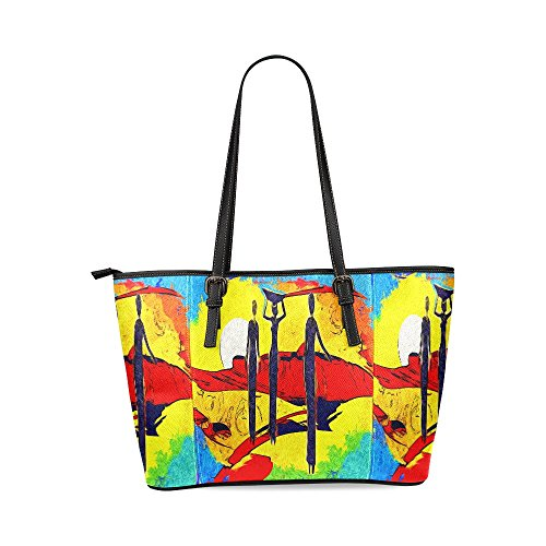 InterestPrint Africa Retro Vintage Style Women's Leather Tote Shoulder Bags Handbags by InterestPrint