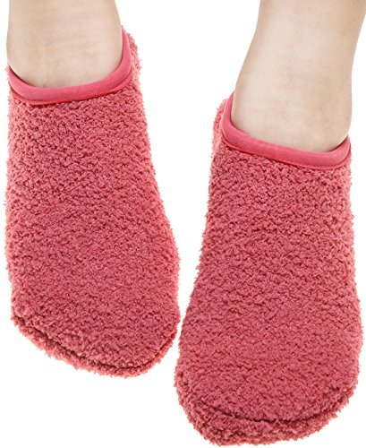 Moda Donna Fluffy Calzini Antiscivolo Morbido Pantofola Calzino Per Pavimento Tinta Unita Rosso Chiaro