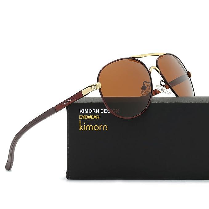 Kimorn Polarisierte Sonnenbrille Herren Piloten Metall Rahmen Klassisch Unisex Gläser K0553 (Braun) khpBVI4TC