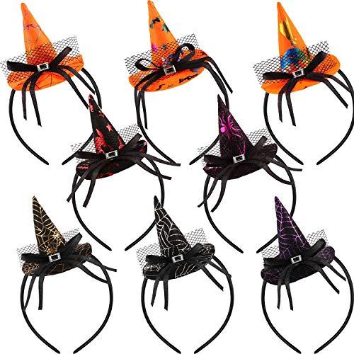 SATINIOR 8 Pieces Halloween Headband Pumpkin Witch Spider Web Hat Headbands Cap ()