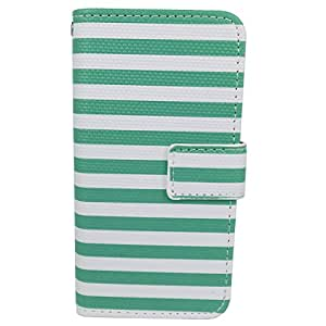 Zon-e Premium PU Leather Zebra Stripes Carrying Phone Case Wallet for iPhone 5 5S White Green