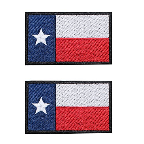 EJG 2 pieces Texas State Flag Tactical Patch(3 2 Inches) Lonely Star Badge Rectangle Military Path Morale With Hook & Loop (Red black border)