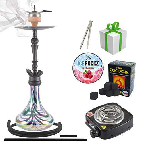 Shisha-Set mit Shisha Amy Deluxe Globe klick, Kohleanzünder, Naturkohle, Kaminkopf, Dampfsteine (R-Schwarz/Schwarz-Matt)
