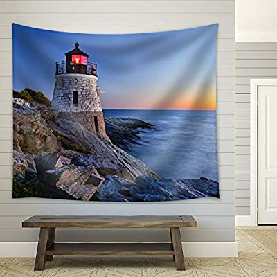 Lighthouse Near The Sea - Fabric Tapestry, Home Decor - 68x80 inches