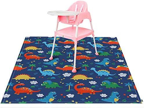 Blue Paint Splash Mat Large Highchair Splash Mat Baby Waterproof and Anti Slip Protective Floor Splash Mat