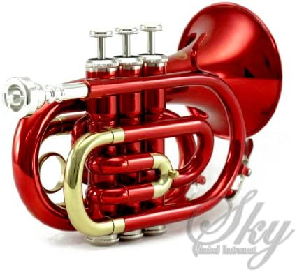 Sky Band Approved Wine Red Lacquer Brass Bb Pocket Trumpet with Case, Cloth, Gloves and Valve Oil, Guarantee Top Quality Sound, Red