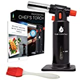 Cooking Blow Torch - Kitchen Blowtorch Butane kitchen blow Torch Lighter Refillable Craft Torch | Aluminum Adjustable Flame Safety Lock Window Gauge BONUS Gifts Silicone Brush, Recipe eBook