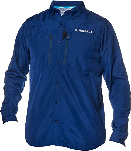 Shimano Volans Technical Vented Long Sleeve Button Down Fishing Shirt (Navy, 2X-Large)