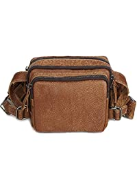 Viajes Fanny Bolsa Fanny Pack BuyAgain Quick Release Hebilla de Viaje Sport Waist Fanny Pack Bag Brown Cowhide Running Belt Waist Pack Hombres Mujeres