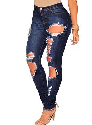 Dokotoo Womens Dark Denim Destroyed Frayed Hem Skinny Jeans Medium