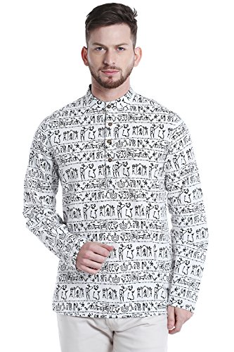 Shatranj Men's Banded Collar Artisan Warli Print Henley Style Sleek Kurta Tunic; White; SM by Shatranj