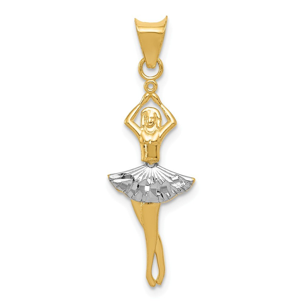 14K White Gold /& Yellow Gold Polished Moveable Dancer Pendant Solid Pendants /& Charms Jewelry