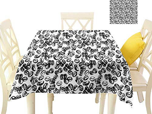 funkky Elegant Waterproof Spillproof Polyester Fabric Table Cover Distressed Black Java Plant Seeds Scattered on White Cup of Fresh Joe Espresso W63 x L63, Indoor Outdoor Camping - Gong Java