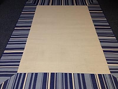 IMS 260710LOWESBL/bg Striped Pattern Heavyweight Indoor Outdoor Patio Rug44; Blue & Beige Cream - 7 x 10 ft.