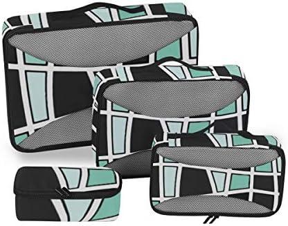 トラベル ポーチ 旅行用 収納ケース 4点セット トラベルポーチセット アレンジケース スーツケース整理 ブラック ブルー 幾何柄 収納ポーチ 大容量 軽量 衣類 トイレタリーバッグ インナーバッグ