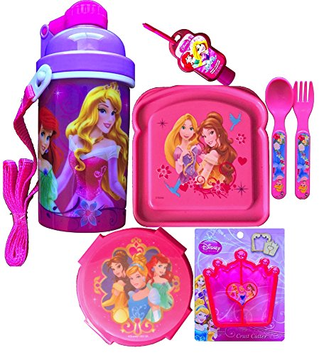 (Disney Princesses 7 Piece Lunch Kit Includes Disney Princesses Canteen Popup Lid with Shoulder Strap Edition, Sandwich and Snack Container, Crust Cutter , Flatware Set with Hand Sanitizer)