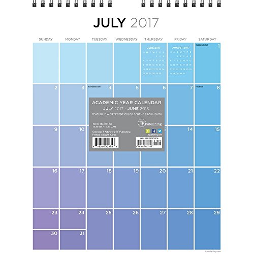 Monthly Academic Wall Calendar (TFB186048A - TF PUBLISHING 2018 Academic Year For the Love of Color Monthly Wall Calendar)