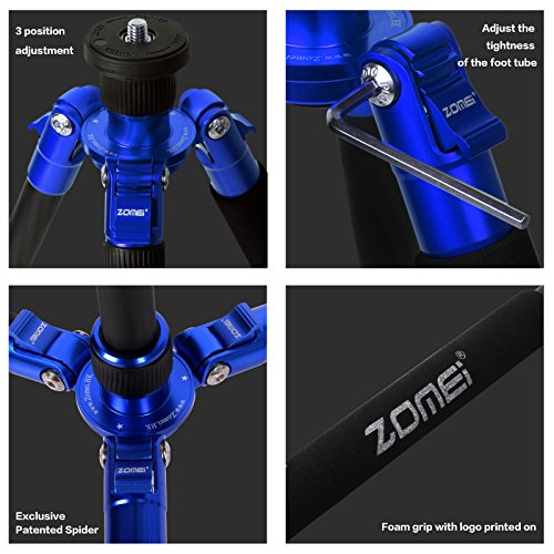Z888C Travel Carbon Fiber Tripod with Bag by ZOMEI (Blue) by ZOMEI (Image #5)