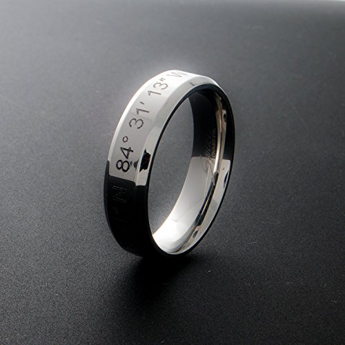 A Coordinate Personalized Ring Stainless Steel Beveled Edge Flat Band Ring Silver -Plated Delicate Bridesmaid and Wedding Gift Couple (Initials Stainless Steel Ring)