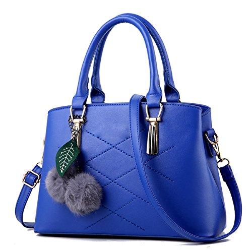 Bolso De Hombro Para Mujer Moda Comodín Sutura De Color Sólido Cuero De La PU Bolso Colgante De La Bola Del Pelo Blue2