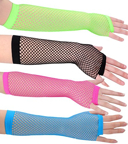 [Ayliss Assorted Fingerless Fishnet Wrist Gloves Short 6 Pairs (one size, Mixed 4 Pairs Long Gloves)] (70s Punk Costumes)