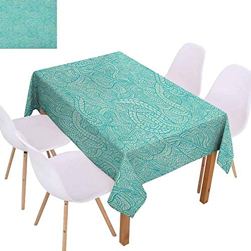 - Marilec Fabric Dust-Proof Table Cover Aqua Vintage Botanic Nature Leaves Veins Swirls Ivy Mosaic Inspired Image Print Party W40 xL60 Turquoise and White