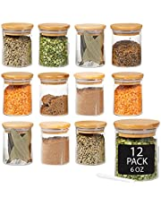 Crutello 12 Pack 6 Oz Mini Spice Jars with Bamboo Lids, Dishwasher Safe Jars for Spices, Honey, Beans, Rice, Party Favors