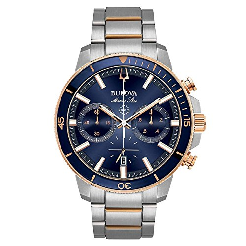 Two Tone Dial (Bulova Men's 45mm Marine Star Two-Tone Stainless Steel Blue Dial Chronograph Bracelet Watch)