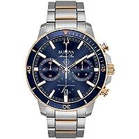 Bulova Men's Marine Star Chrono Stainless Two-tone Blue Dial Bracelet Watch
