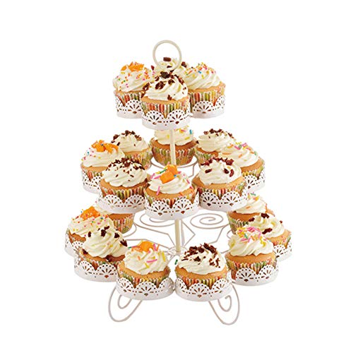 3 Tier Cupcake Stand Display Tree Tower Iron Holder for Wedding Birthday Party Home Christmas Decoration Holds Up to 22 Cups White