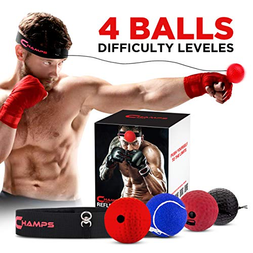 Boxing Reflex Ball by Champs - Boxing Equipment Fight Speed, MMA Boxing Gear Pro Punching Ball - Great for Reaction Speed and Hand Eye Coordination Training Reflex Bag Alternative (Set of 4)
