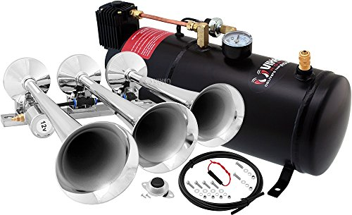 - Vixen Horns Loud 149dB 3/Triple Chrome Trumpet Train Air Horn with 1 Gallon Tank and 150 PSI Compressor Full/Complete Onboard System/Kit VXO8210/3118