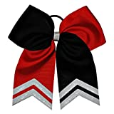 """6 1/2 """" Softball Hair Bow Black and Red with White Glitter Tips"""