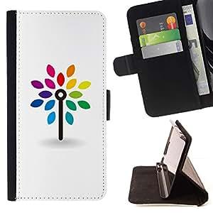 LG Magna / G4C / H525N H522Y H520N H502F H500F (G4 MINI,NOT FOR LG G4)Case , Limpie blanca minimalista arco iris- la tarjeta de Crédito Slots PU Funda de cuero Monedero caso cubierta de piel