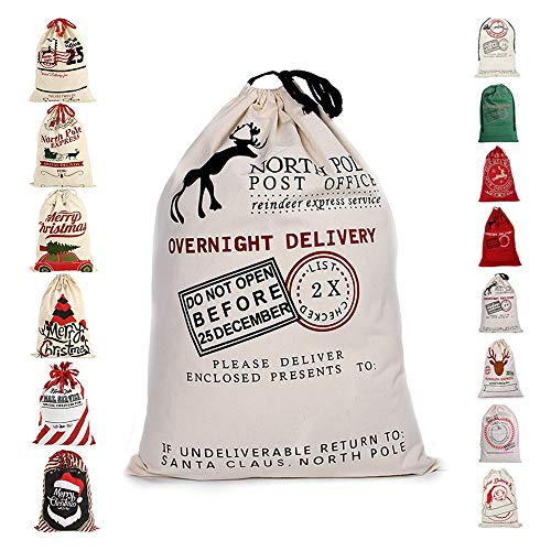 Fannybuy Santa Sack Personalized Bags Large Drawstring Canvas Burlap Bag Drawstring Delivery Extra Large Size 27.5