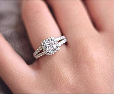 2.00 Carat White and Pink Cushion Diamond Double Halo Engagement Ring 925 Silver