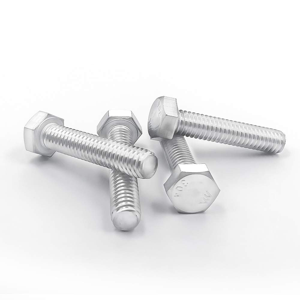 Hex Head Cap Screw Bolts Fully Machine Thread Bright Finish Flat Point 304 Stainless steel 18-8 1//4 to 3 Available 1//4-20x3//4 100 PCS by Eastlo Fastener